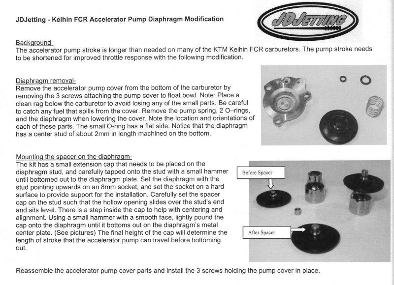 Accelerator Pump Diaphragm Spacer in Jet Kit JDK015, JDK013